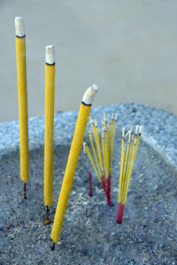 Incense Sticks Burning In Chinese Temple Stock Image