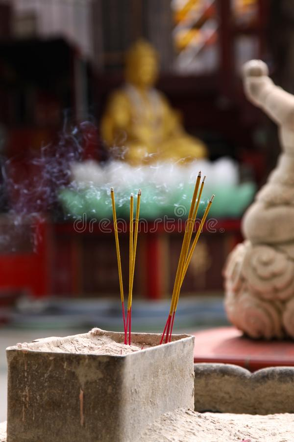 Incense in the temple stock photos