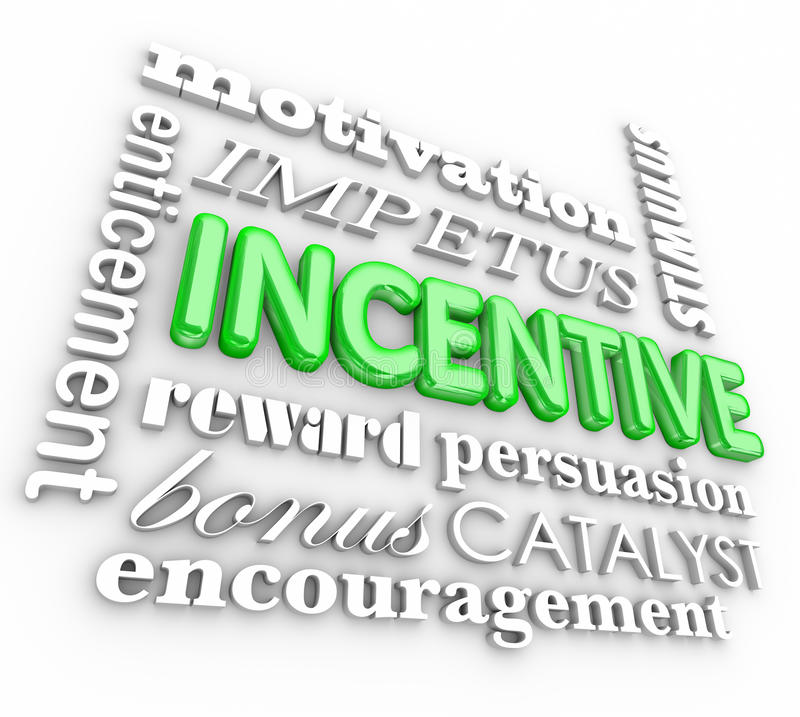 Incentive 3d Word Background Motivation Rewards Encouragement stock illustration