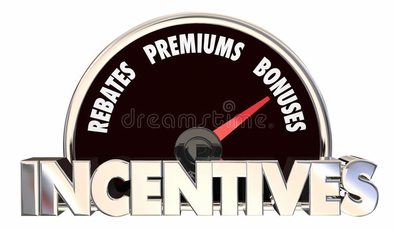 Incentives Rebates Premiums Bonus Offers Speedometer royalty free illustration