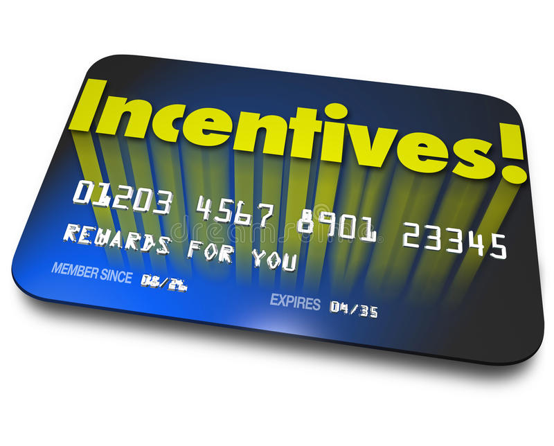 Incentives Rewards Bonus Credit Gift Card Money Savings Value stock illustration