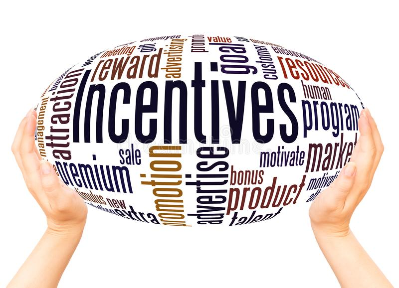 Incentives word cloud hand sphere concept stock illustration