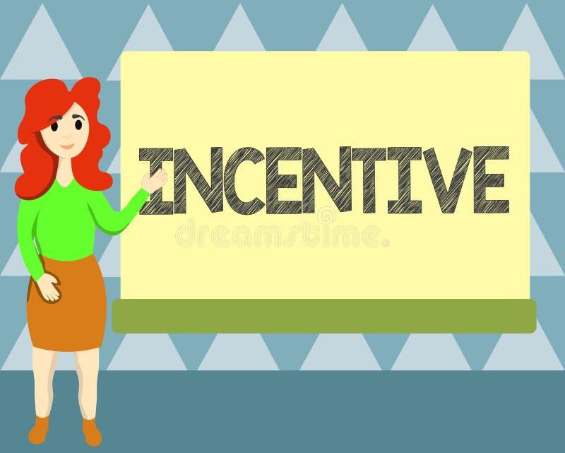 Incentivo de la escritura del texto de la escritura Cosa del significado del concepto que motiva o anima alguien a hacer algo libre illustration