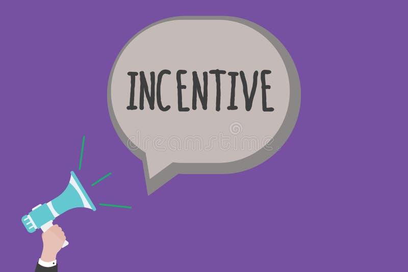 Incentivo del texto de la escritura Cosa del significado del concepto que motiva o anima alguien a hacer algo ilustración del vector