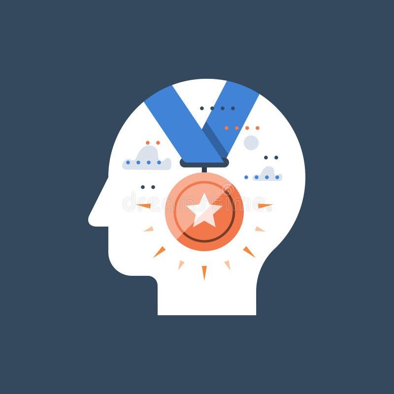 Incentivo y programa de la motivación, ganador de la competencia, premio de oro de la medalla, empleado del mes, realización acer stock de ilustración