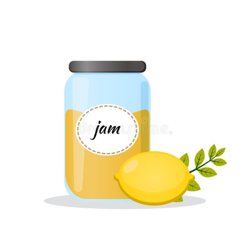 Inceppamento del limone in barattolo trasparente Icona piana isolata di vettore su fondo bianco Il meglio per progettazione, tess illustrazione vettoriale
