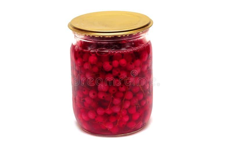Inceppamento delle bacche rosse in un barattolo, isolato su fondo bianco fotografie stock