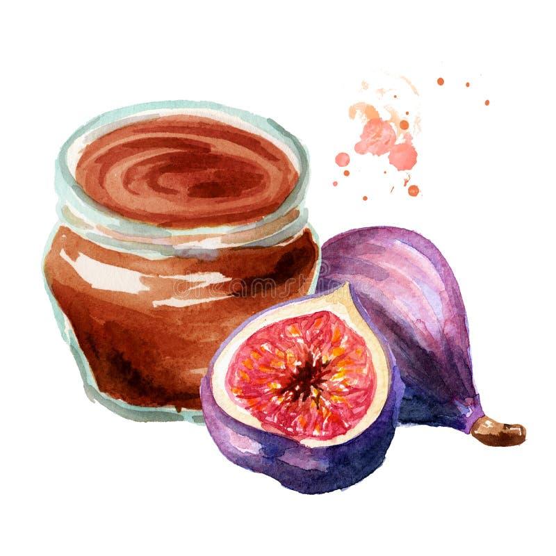 Inceppamento organico della frutta Barattolo di vetro della marmellata d'arance del fico e della frutta fresca isolate su fondo b immagine stock libera da diritti