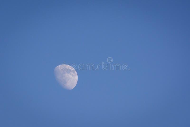 Inceratura della luna gibbous durante le ore diurne fotografia stock
