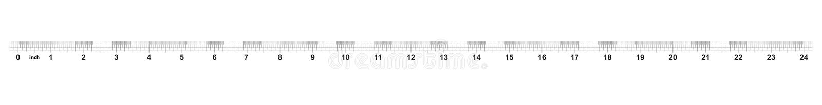24 inch ruler. The price of division - 32 divisions by inch. Exact length measurement device. Calibration grid.  stock illustration