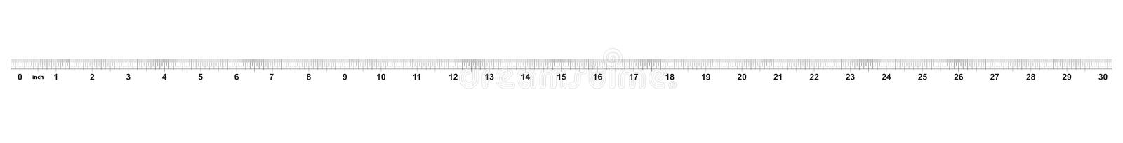30 inch ruler. The price of division - 32 divisions by inch. Exact length measurement device. Calibration grid.  stock illustration