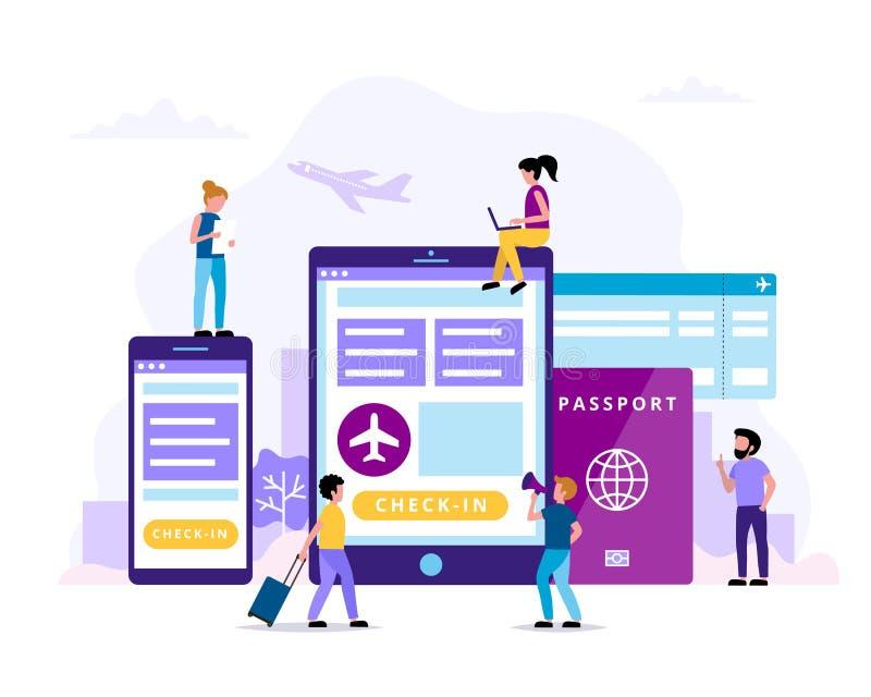 Incheckning begreppsillustration med minnestavlan, smartphone, pass, logipasserande Litet folk som gör olika uppgifter stock illustrationer