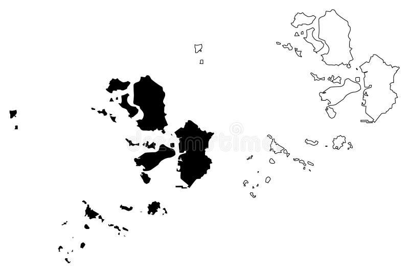Incheon översiktsvektor stock illustrationer