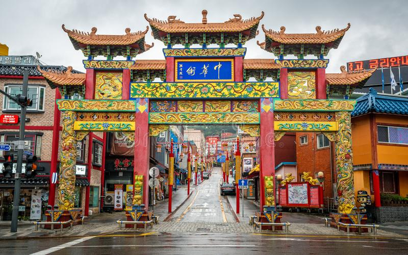 Incheon Chinatown entrance with Chinese traditional gate on daytime in Incheon South Korea royalty free stock images