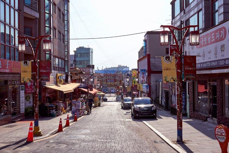 Incheon, Coreia do Sul - 5 de junho de 2017: Uma vista da cidade de China em Incheon, Coreia do Sul fotos de stock