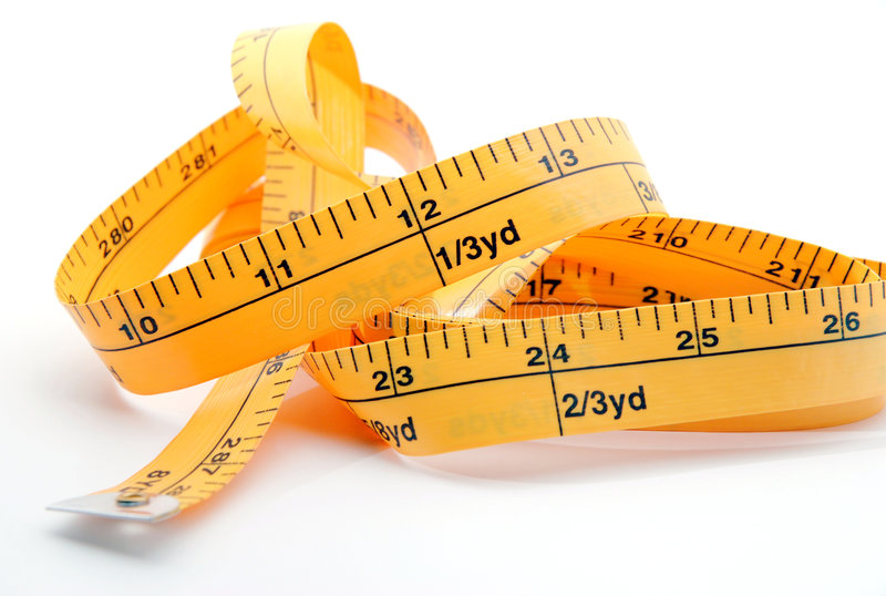 Inches. Sewing tape showing 12 inches and 24 inches stock image