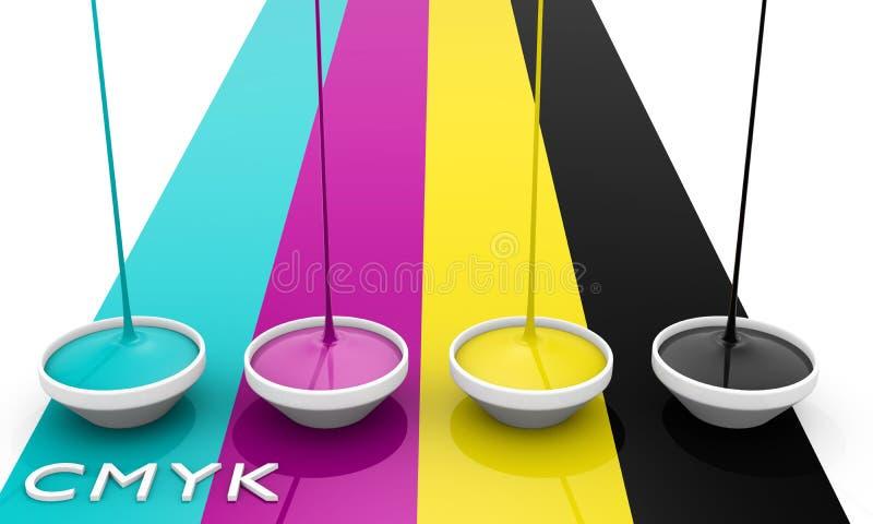 Inchiostri del liquido di CMYK illustrazione di stock
