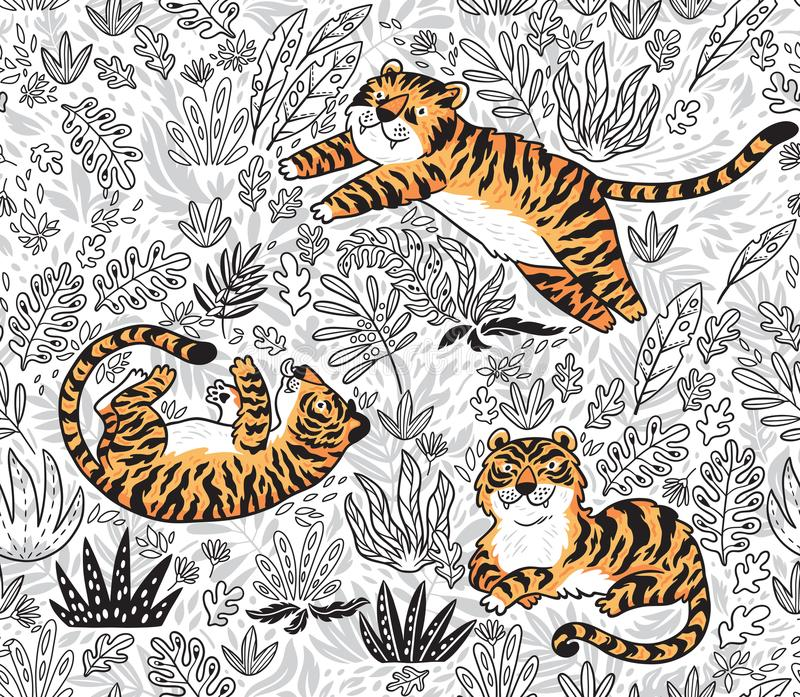 Inchiostri il modello senza cuciture tropicale con le tigri arancio divertenti nello stile del fumetto Illustrazione di vettore illustrazione vettoriale