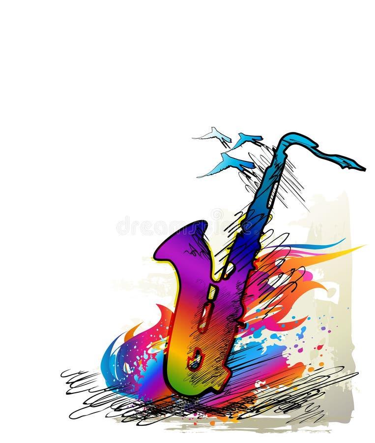 Inchiostri la pittura, il fondo di musica con il sassofono e gli uccelli di volo royalty illustrazione gratis
