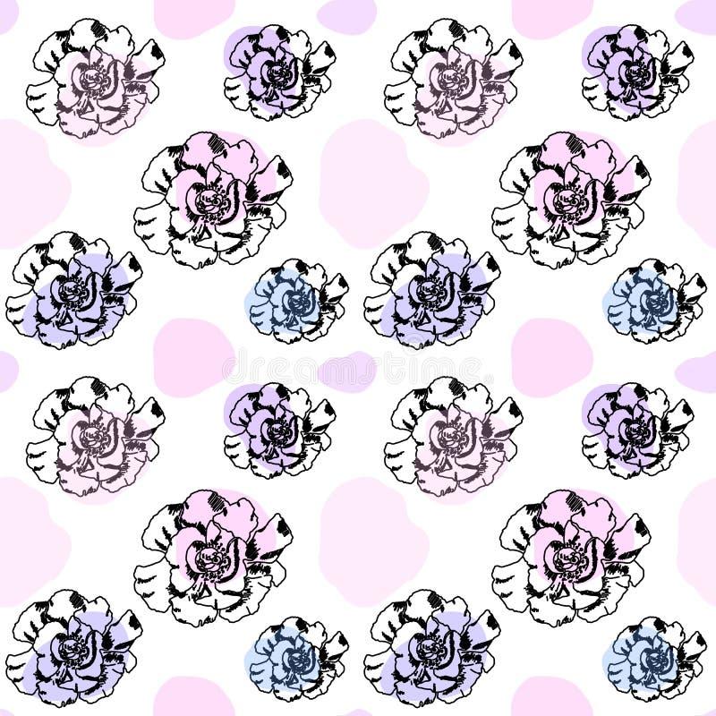 Inchiostri le rose nei colori pastelli modello o fondo senza cuciture illustrazione di stock