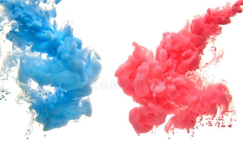 Inchiostro acrilico multicolore in acqua sottragga la priorit? bassa fotografia stock