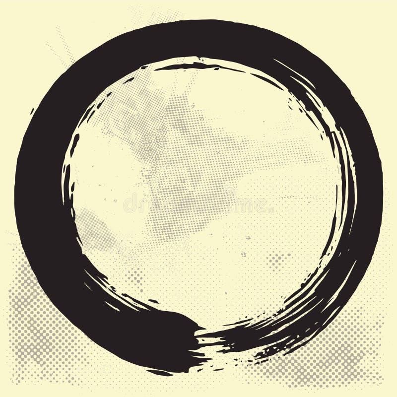 Inchiostro del nero di Enso Zen Circle Brush Vector Illustration sul vecchio vettore di carta illustrazione di stock