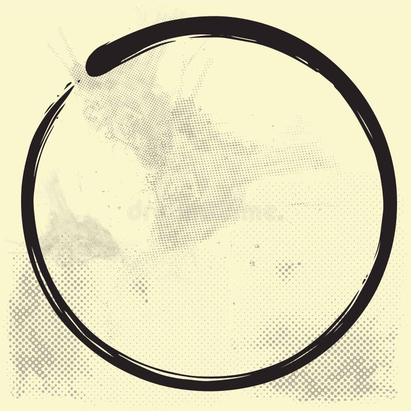 Inchiostro di Enso Zen Circle Brush Vector Illustration su vecchia carta royalty illustrazione gratis