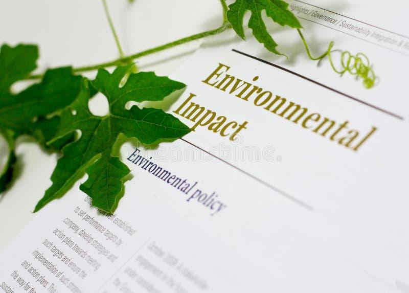 Incidences sur l'environnement image libre de droits