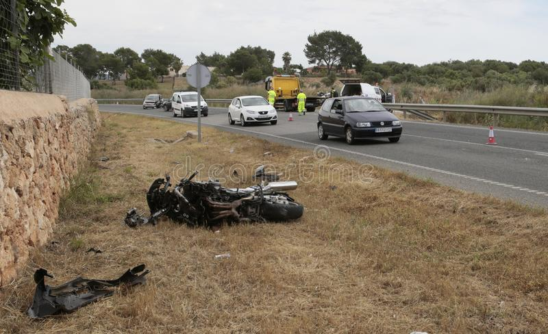 Incident d'accident de vélo en Majorque images stock