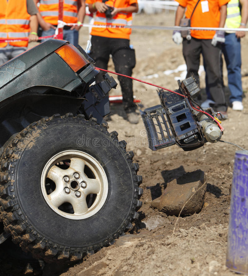 Incident during an off road competition stock photography