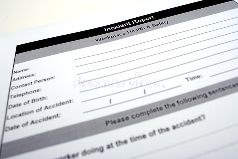 Incident report royalty free stock photos