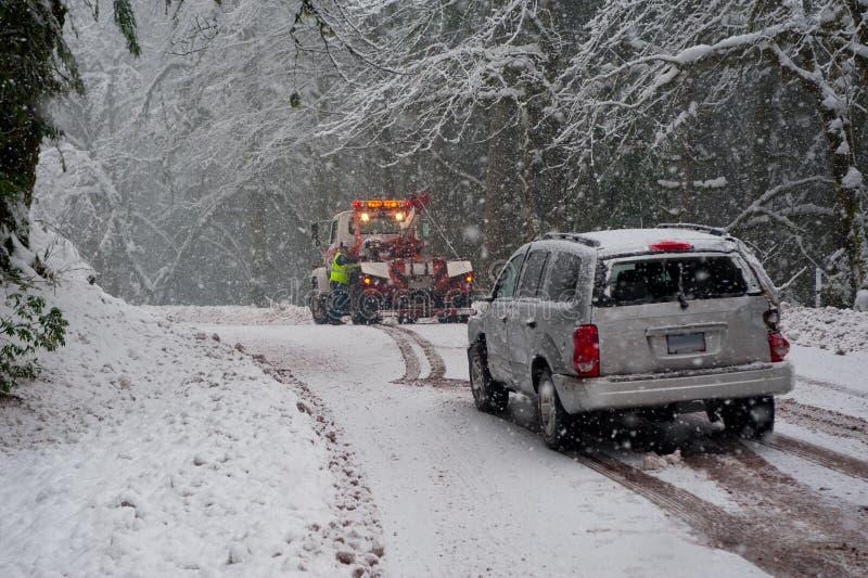 Incidente automatico nella neve fotografie stock