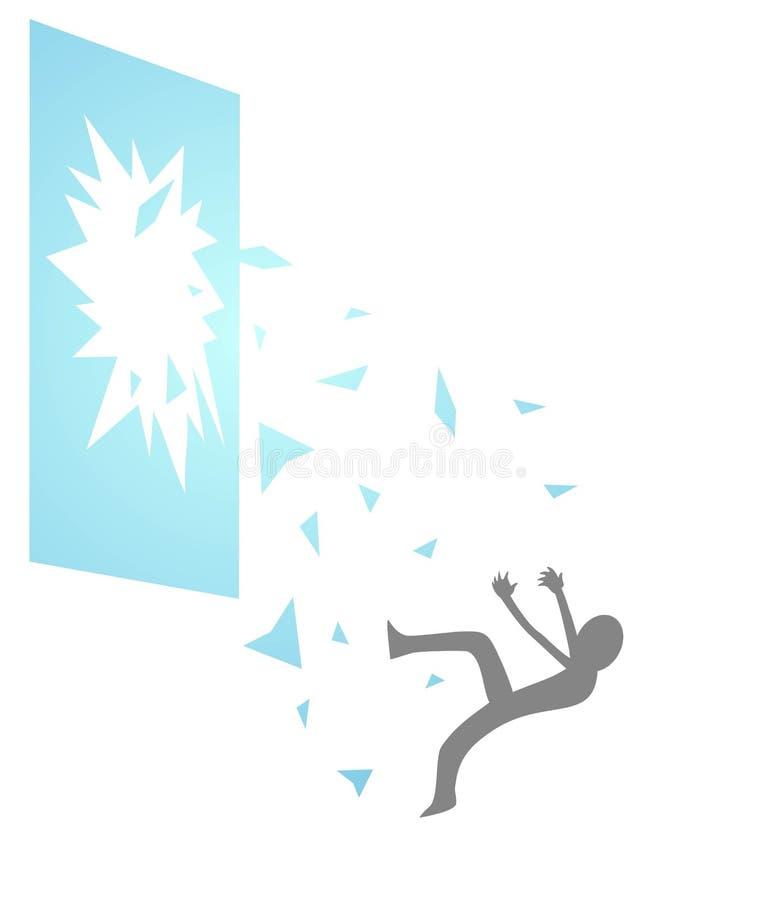Incidente che cade attraverso la finestra rotta royalty illustrazione gratis