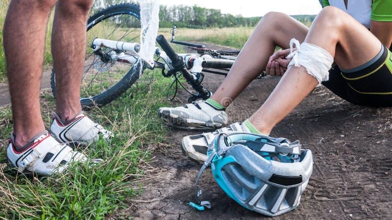 Incidente della bicicletta fotografie stock