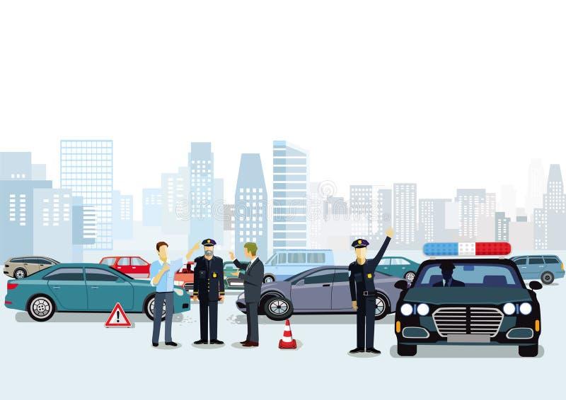 Incidente di traffico con la polizia sulla scena illustrazione vettoriale