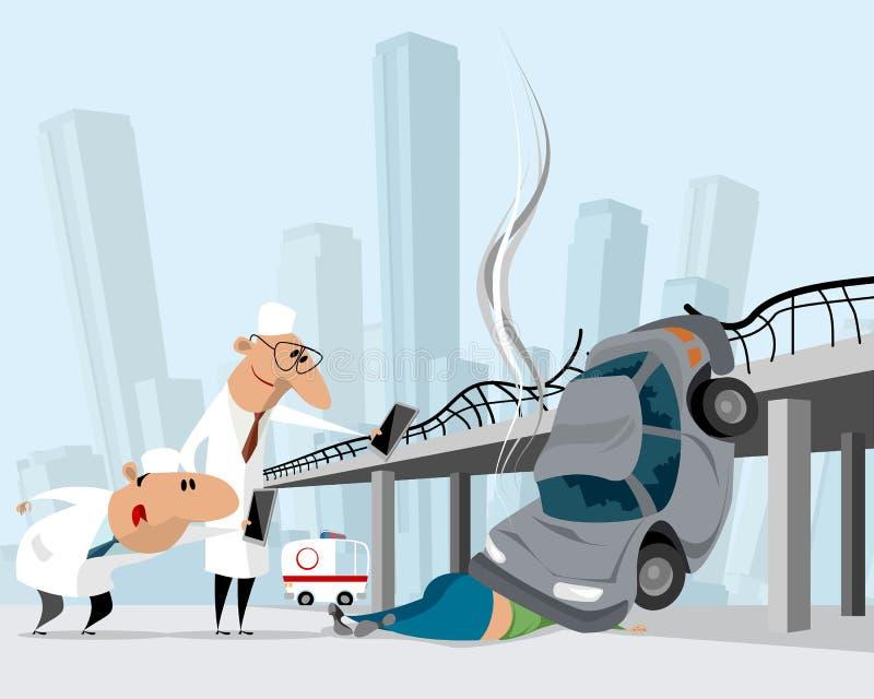 Incidente di traffico ed ambulanza illustrazione vettoriale