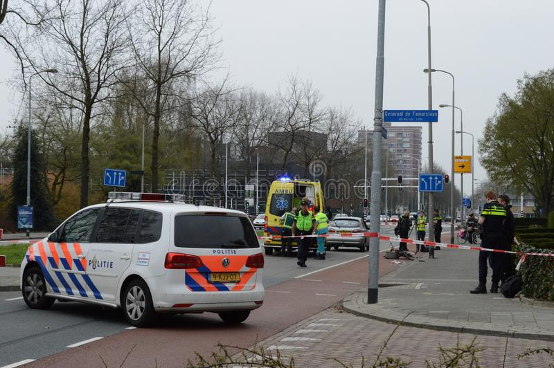 Incidente di traffico nei Paesi Bassi fotografia stock