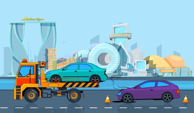 Incidente di trasporto nel paesaggio urbano Fondo di vettore nello stile del fumetto illustrazione di stock