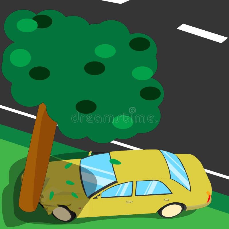 Incidente stradale con un grande albero, illustrazione di stock