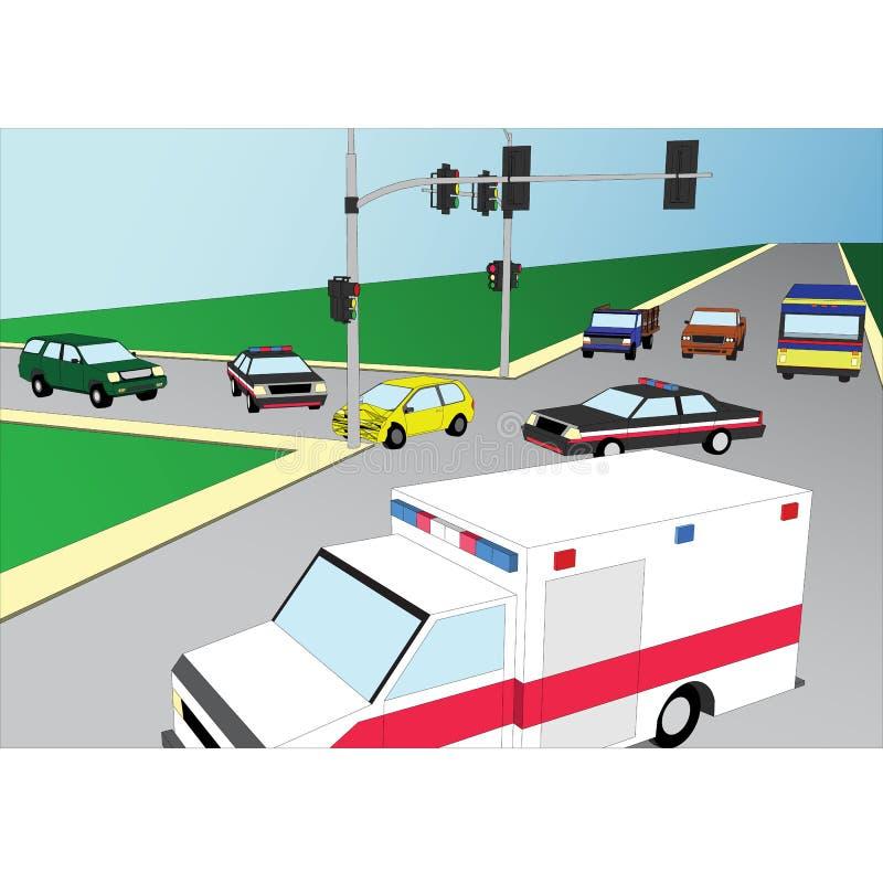 Incidente stradale 3d piano illustrazione vettoriale