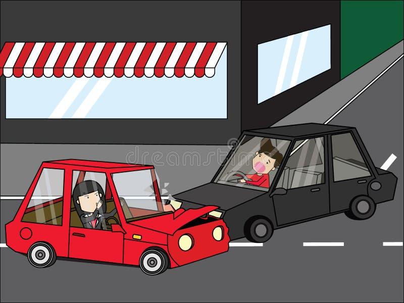 Incidente stradale della giovane donna con il giovane di un giovane royalty illustrazione gratis