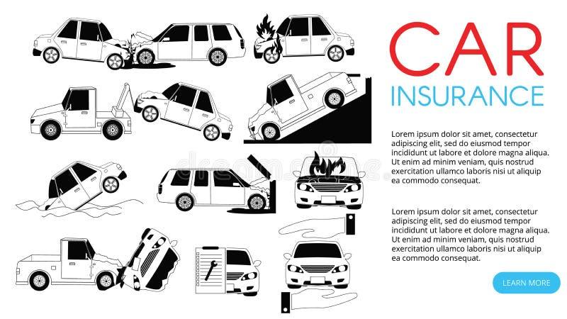 Incidente stradale ed incidenti sulle icone della strada illustrazione vettoriale