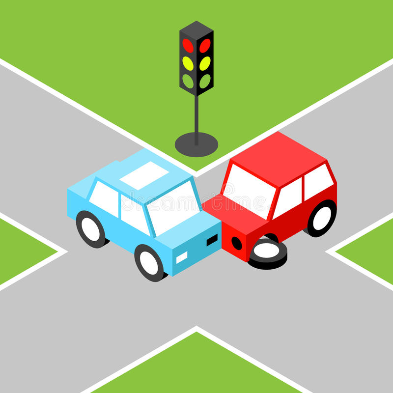 Incidente stradale isometrico illustrazione di stock