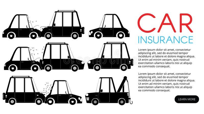 Incidente stradale per assistenza assicurativa illustrazione vettoriale