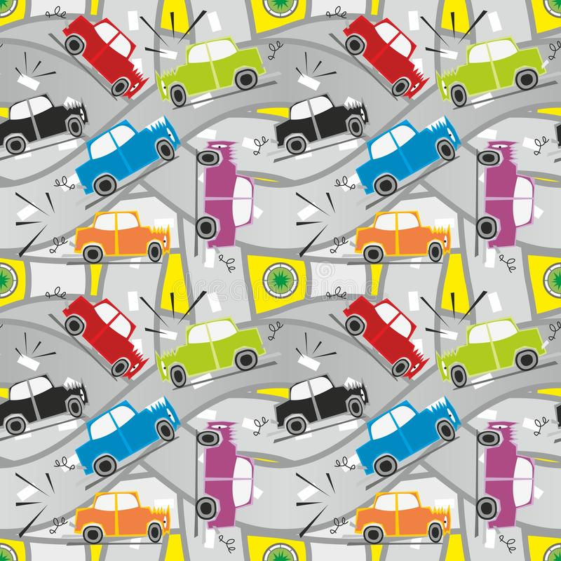Incidente stradale senza giunte del reticolo illustrazione di stock