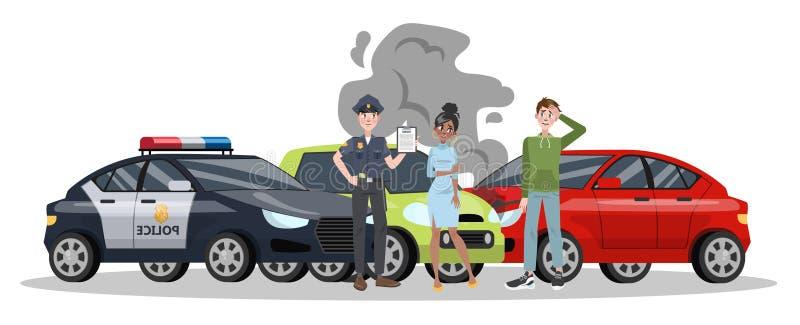 Incidente stradale sulla strada Danno dell'automobile illustrazione vettoriale
