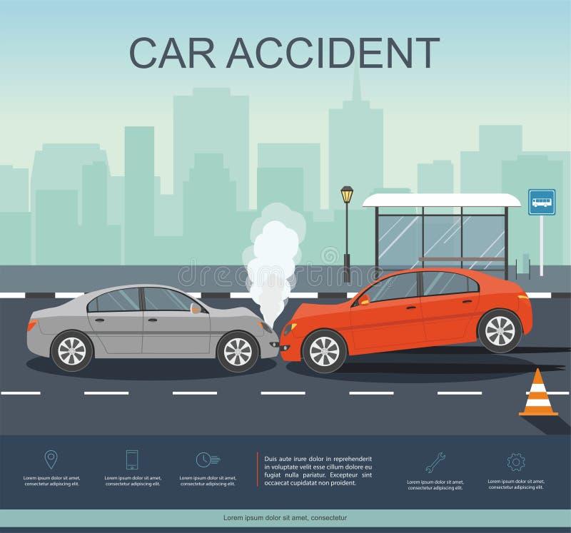 Incidente stradale sulla strada Transporation Infographic illustrazione di stock