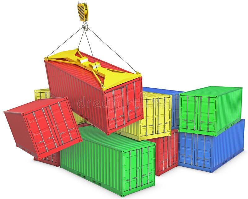 Incidente sul trapnsortation del contenitore illustrazione di stock