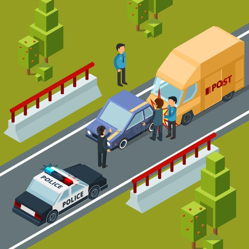 Incidente sulla strada di città Sorveglia l'automobile e la scena urbana isometrica di vettore di disastri illustrazione vettoriale