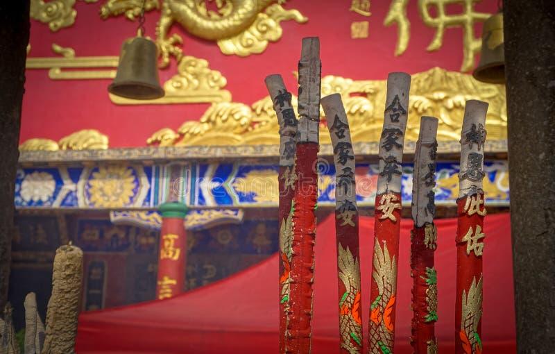 Inciense burning outside the Ten Thousand Buddhas Monastery, Hong-Kong. stock image